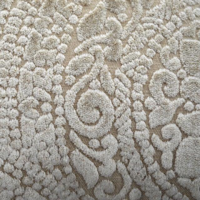 Italian Italian FirmaMenta Cream Lace Linen Velvet Lumbar Pillow For Sale - Image 3 of 5
