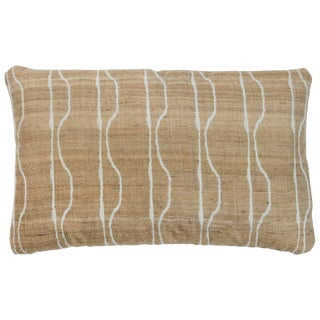 Indian Handwoven Pillow in Ivory and Oatmeal For Sale
