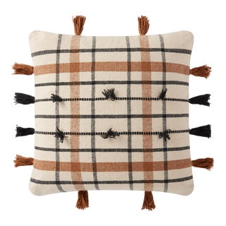 """Loloi Handwoven Plaid Striped Pillow with Tassels, Natural / Brown - 18"""" x 18"""" Cover with Down Pillow For Sale"""