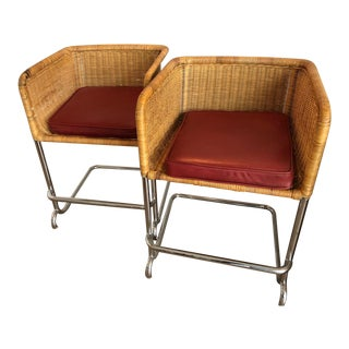 Harvey Probber Style Wicker & Chrome Bar Chairs - A Pair
