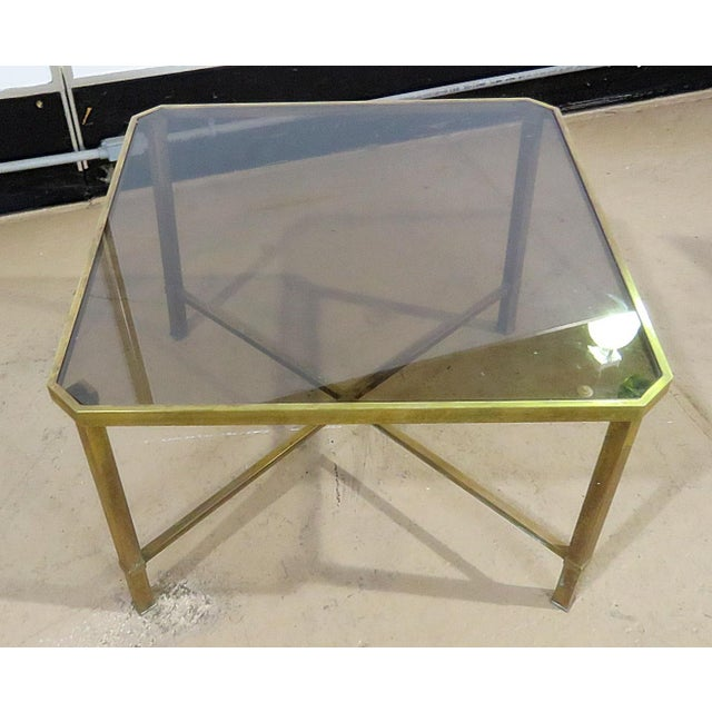 Brass Italian Modern Glass Top Coffee Table For Sale - Image 7 of 11