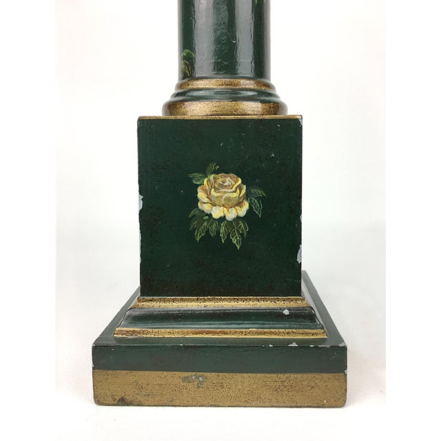 Traditional Botanical Motif Column Table Lamp For Sale - Image 3 of 7