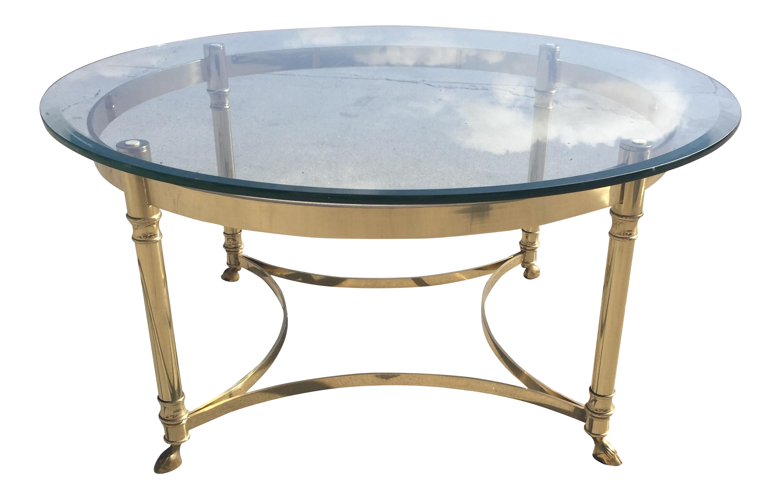 Charmant LaBarge Hollywood Regency Round Glass Coffee Table