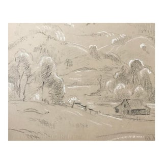 1930s Plein Air Landscape Drawing by Eliot Clark For Sale