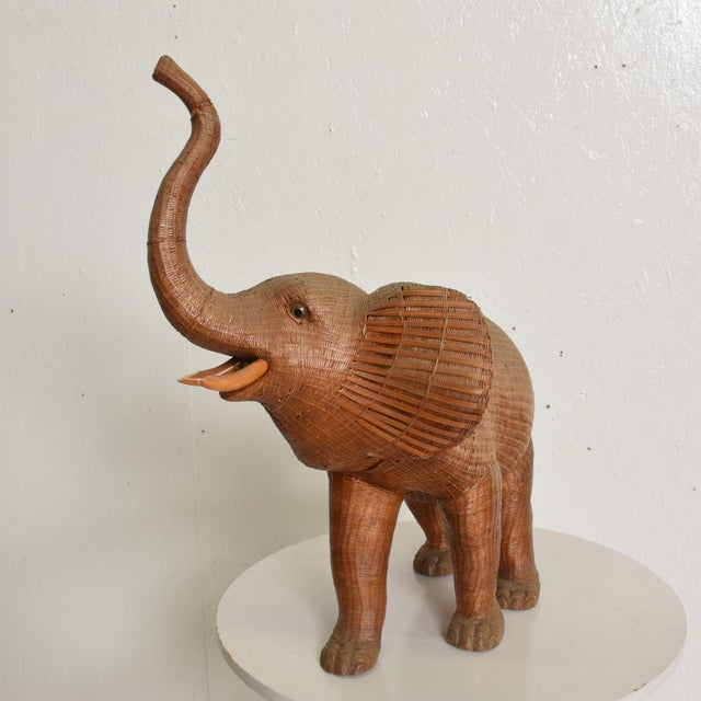 For your consideration, an Antique Elephant Wicker Box Hollywood Regency Period. Unknown maker. The elephant head can be...