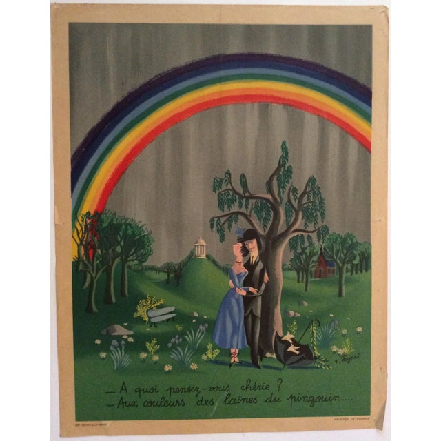 """1940s Raymond Peynet Original Lithograph """"The Lovers, the Tree, the Rainbow"""" For Sale - Image 5 of 6"""
