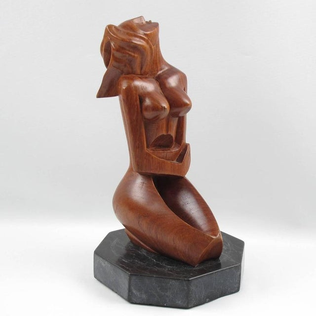 Cubism Mid-Century Cubist Carved Mahogany Woman Sculpture For Sale - Image 3 of 11