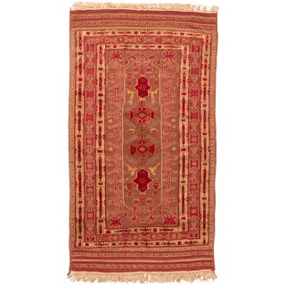 Persian Geometric Red Wool Kilim Rug - 4′7″ × 8′3″ For Sale