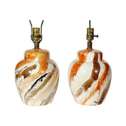 1970s Swirl Ceramic Barrel Lamps - A Pair - Image 4 of 5