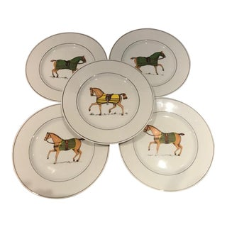 Tiffany Co. Jacques Lobjoy French Equestrian Horse Porcelain Plates - Set of 5 For Sale