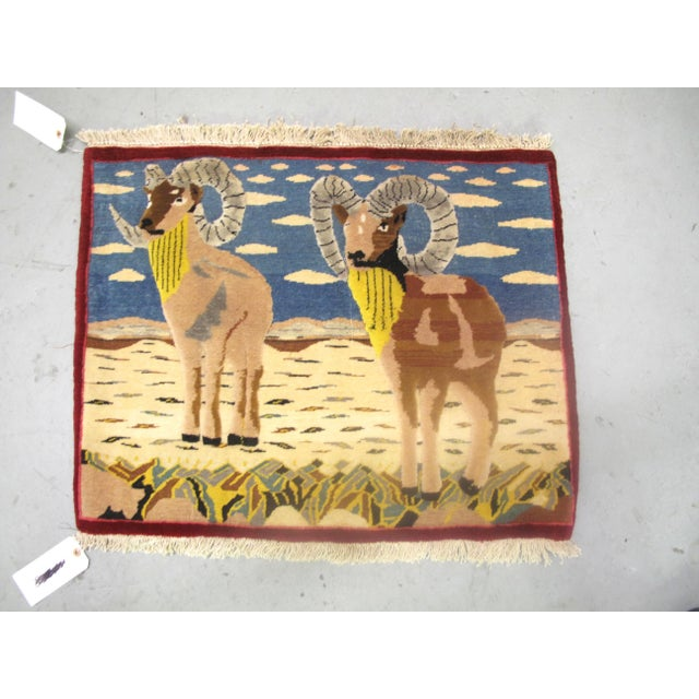 Mid 20th Century Vintage Mid-Century Ram Pictorial Rug - 2′2″ × 2′9″ For Sale - Image 5 of 5