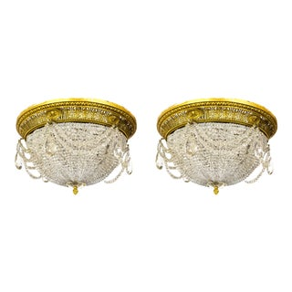 Neoclassical Style Beaded Crystal Dome Flush Mounts (Pair)