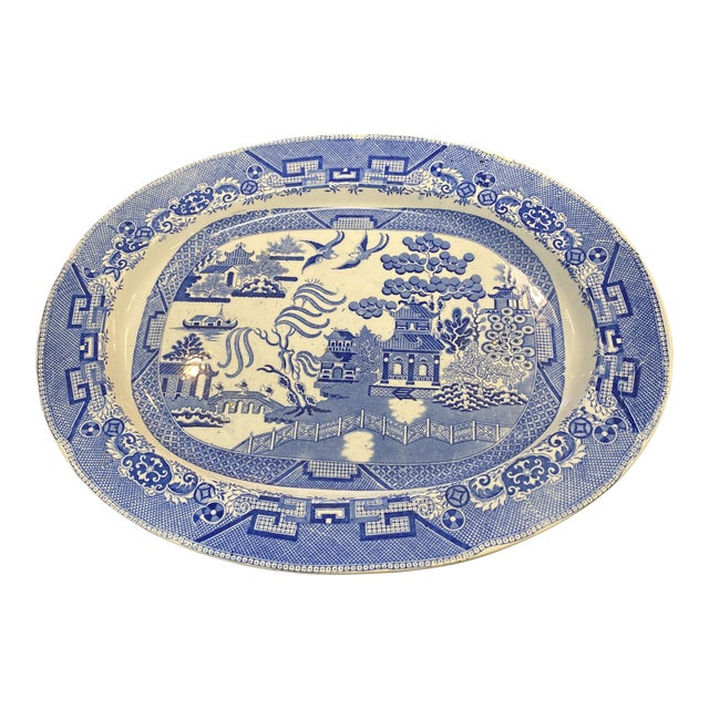 Oversized English Blue Willow Platter For Sale