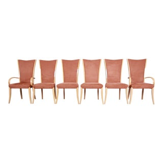 Italian Art Deco Maple Dining Chairs With Suede Upholstery - Set of 6 For Sale