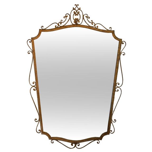 Pier Luigi Colli Art Deco Style Italian Gilt Wrought Iron Wall Mirror by Pier Luigi Colli For Sale - Image 4 of 12