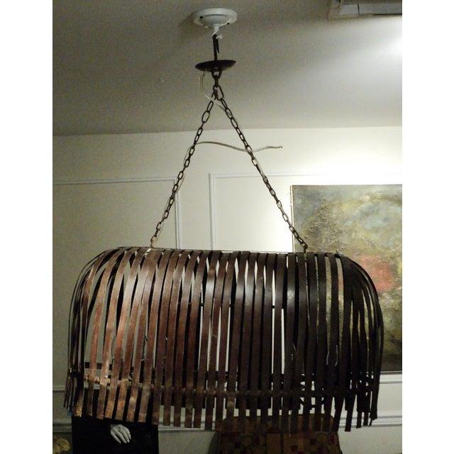 Vintage Handmade Steel Ceiling Light Fixtures - A Pair - Image 8 of 11
