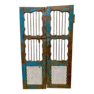 Pair of Early French Painted Shutters For Sale