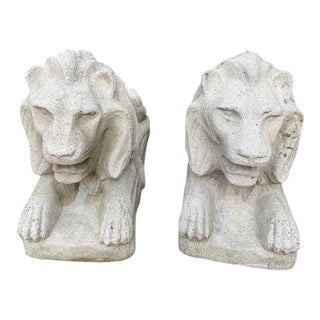 1940s Vintage Concrete Lions-a Pair For Sale