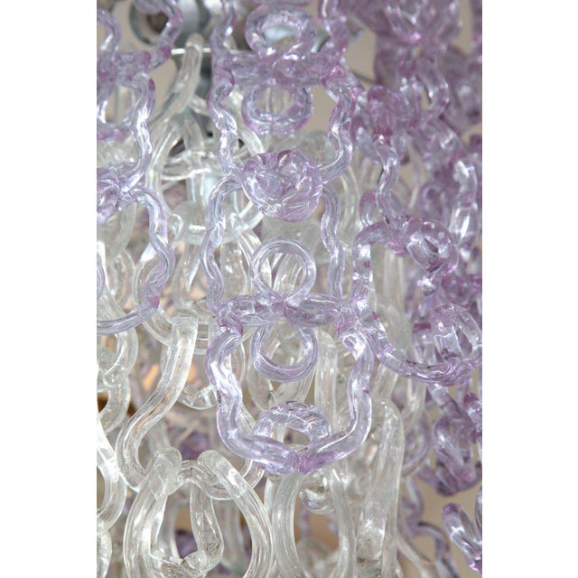 Modern Vintage Vistosi Lavender and Clear Murano Link Chandelier For Sale - Image 3 of 8