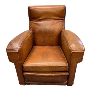 French Club Lounge Chair Brown Leather, Circa 1930, Wool Swiss Army Blanket Back For Sale