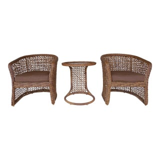 Woodard Wicker Club Chairs and Accent Table - Set of 3