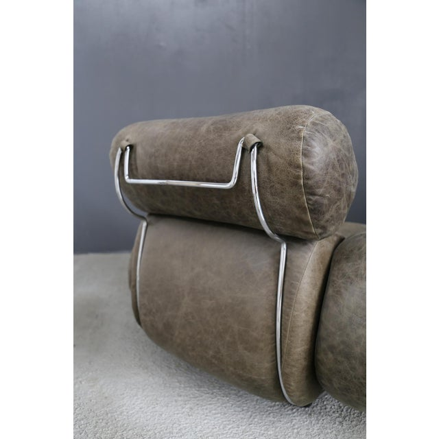 Italian Vintage Armchairs in 70's Leather and Steel. For Sale - Image 3 of 7