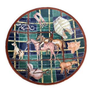 Vintage Hand Painted Equestrian Hunt Decorative Plate For Sale