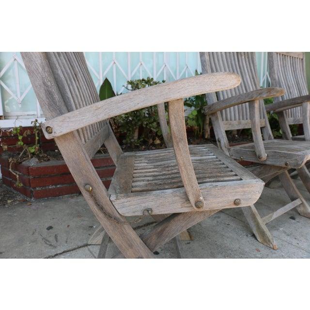 Teak Vintage Set of Teak Outdoor Patio Chairs For Sale - Image 7 of 13