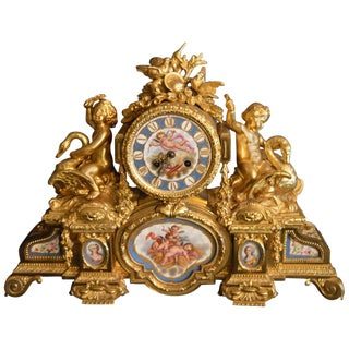 Sèvres Porcelain With Doré Bronze Clock For Sale