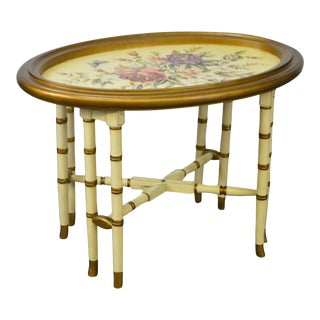 Floral Paint Decorated Faux Bamboo Tray Top Coffee Table