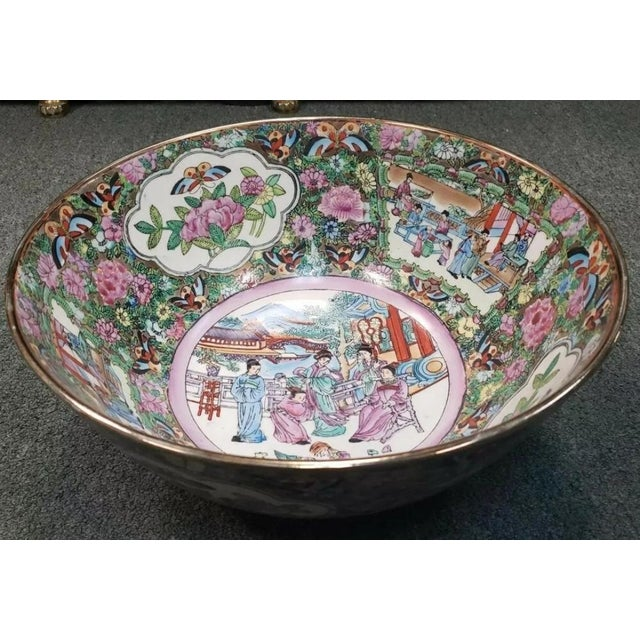 White Mid 20th Century Chinese Rose Medallion Porcelain Punch Bowl For Sale - Image 8 of 8