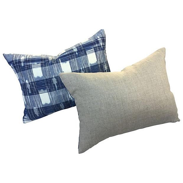 Hand Woven Indigo Ikat Pillows - Pair - Image 5 of 5