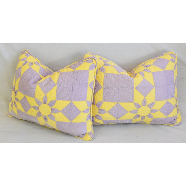 """Boho Chic Farmhouse Americana Patchwork Feather/Down Pillows 24"""" X 18"""" - Pair For Sale - Image 11 of 13"""