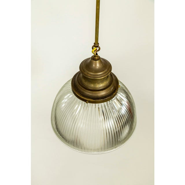 Large Holophane Glass & Brass Pendants - a Pair For Sale - Image 10 of 13
