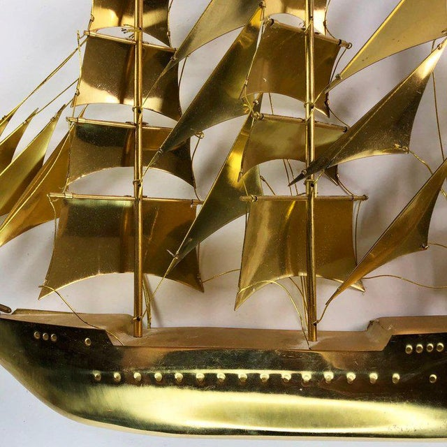 Vintage Mid-Century Brass Ship Figurine For Sale - Image 4 of 10