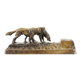 Austrian Bronze Inkwell With Dogs by Friedrich Gornik For Sale