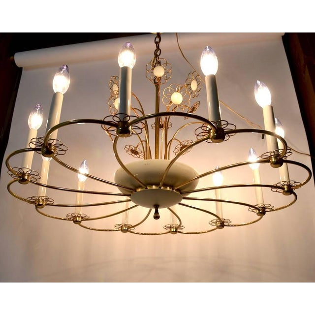 Floral Chandelier by Lightolier After Tynell For Sale - Image 10 of 11
