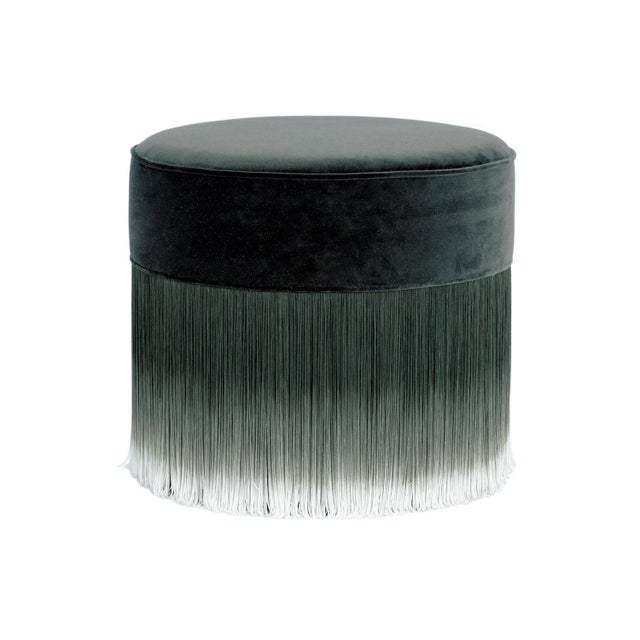 2020s Moooi Dark Gray Velvet Pouf with Fringe For Sale - Image 5 of 5