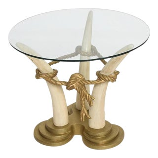Pair of Side Tables in Faux Ivory & Bronze For Sale
