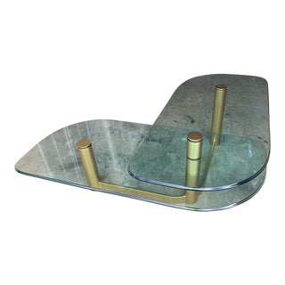 Vintage Pace Collection Split Level Glass and Bronze-Finished Coffee Table For Sale