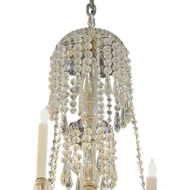 Brass Tall Eight Arm Crystal Chandelier For Sale - Image 7 of 7