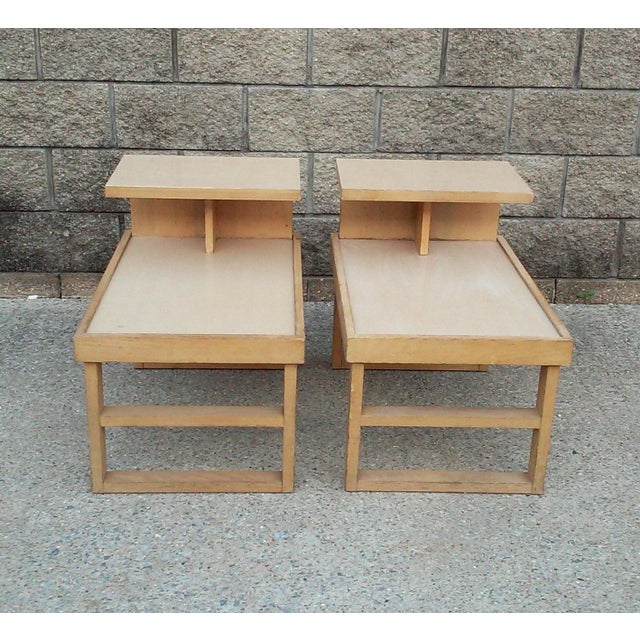Mid-Century Modern Paul Laszlo Style Blonde End Tables-A Pair For Sale - Image 3 of 12