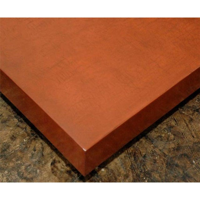 """Contemporary """"Caisson"""" Cognac Crackled Lacquer Coffee Table by Design Frères For Sale - Image 3 of 9"""