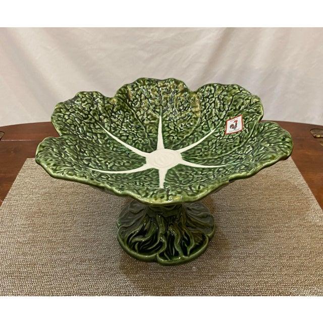 Figurative Portuguese Majolica Lettuce Figure Compote Pedestal Bowl For Sale - Image 3 of 5
