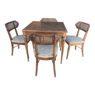 Game Table With Cane-Back Chairs Set