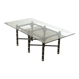 Hollywood Regency Faux Bamboo Black & Gold Glass Top Dining Table For Sale