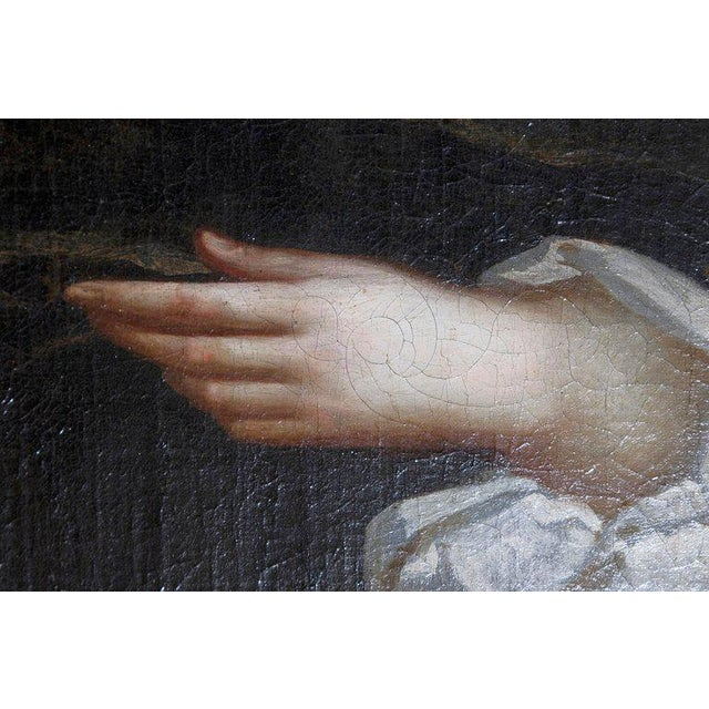 18th Century English Portrait of Mrs. Overbury Circle of Sir Godfrey Kneller For Sale - Image 9 of 13