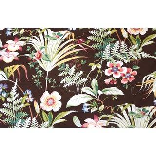 Jay Yang Chocolate Brown Botanical Print Fabric - 5 Yards For Sale