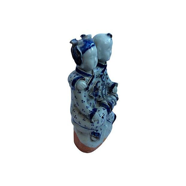 Chinese Blue & White Best Friends Figurine - Image 3 of 5