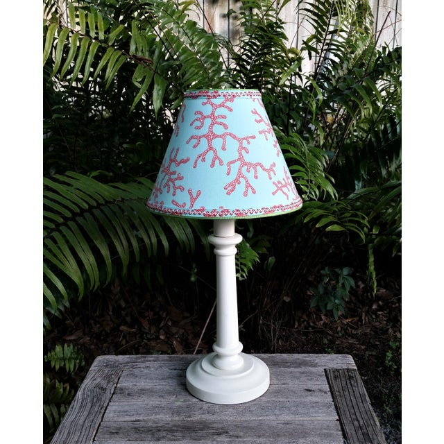 Not Yet Made - Made To Order Lilly Pulitzer Fabric Lampshade Blue Red Clip On For Sale - Image 5 of 11